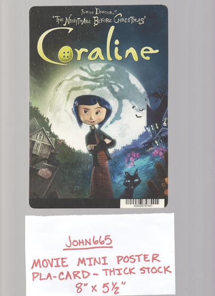 Coraline Movie Mini Poster Pla Card 5 1 2 X 8 Thick Stock Not A Dvd Coraline Movie Coraline Halloween Movies