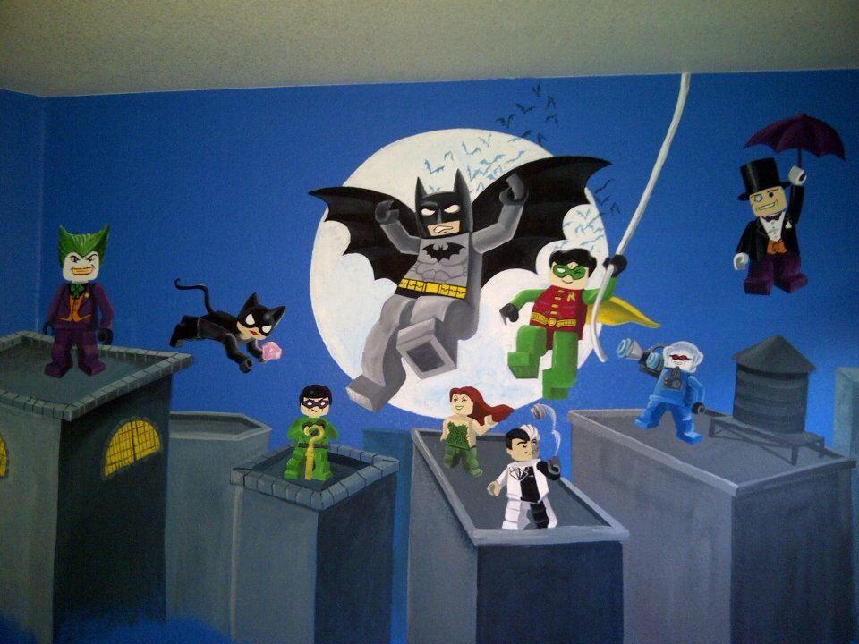 Batman Lego Mural Lego Room Decor Lego Room Playroom Mural