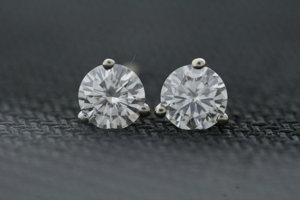 14k White Gold 5.0mm .90ctw Round Moissanite 3-Prong Stud Earrings Screw Backs....something like these.