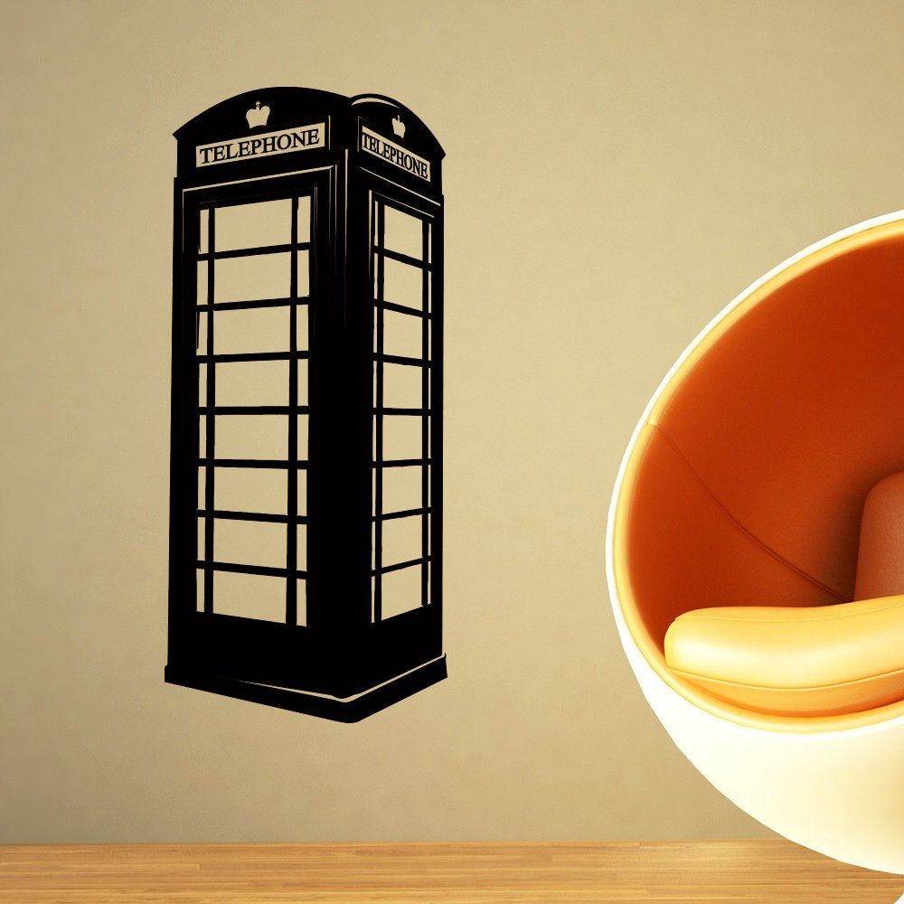 London Telephone Box Wall Decal British Phone Booth Wall Decals ...