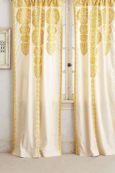 New Anthropologie Yellow Embroidered Marrakesh Curtain Panel 42 X 96 Anthropologie Home Curtains Curtains Yellow Curtains