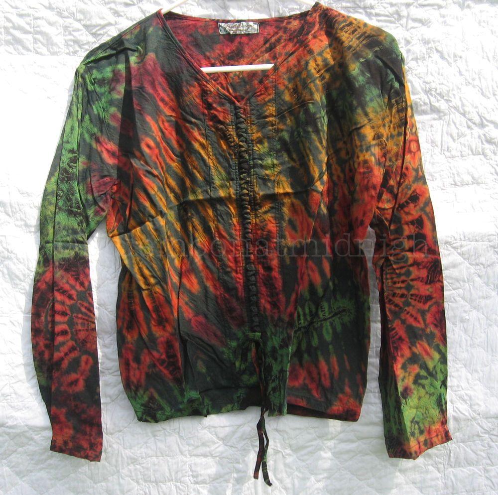 Green Shirt Tie Dye Hippie Boho Festival Top Blouse Mudmee Size L NWOT