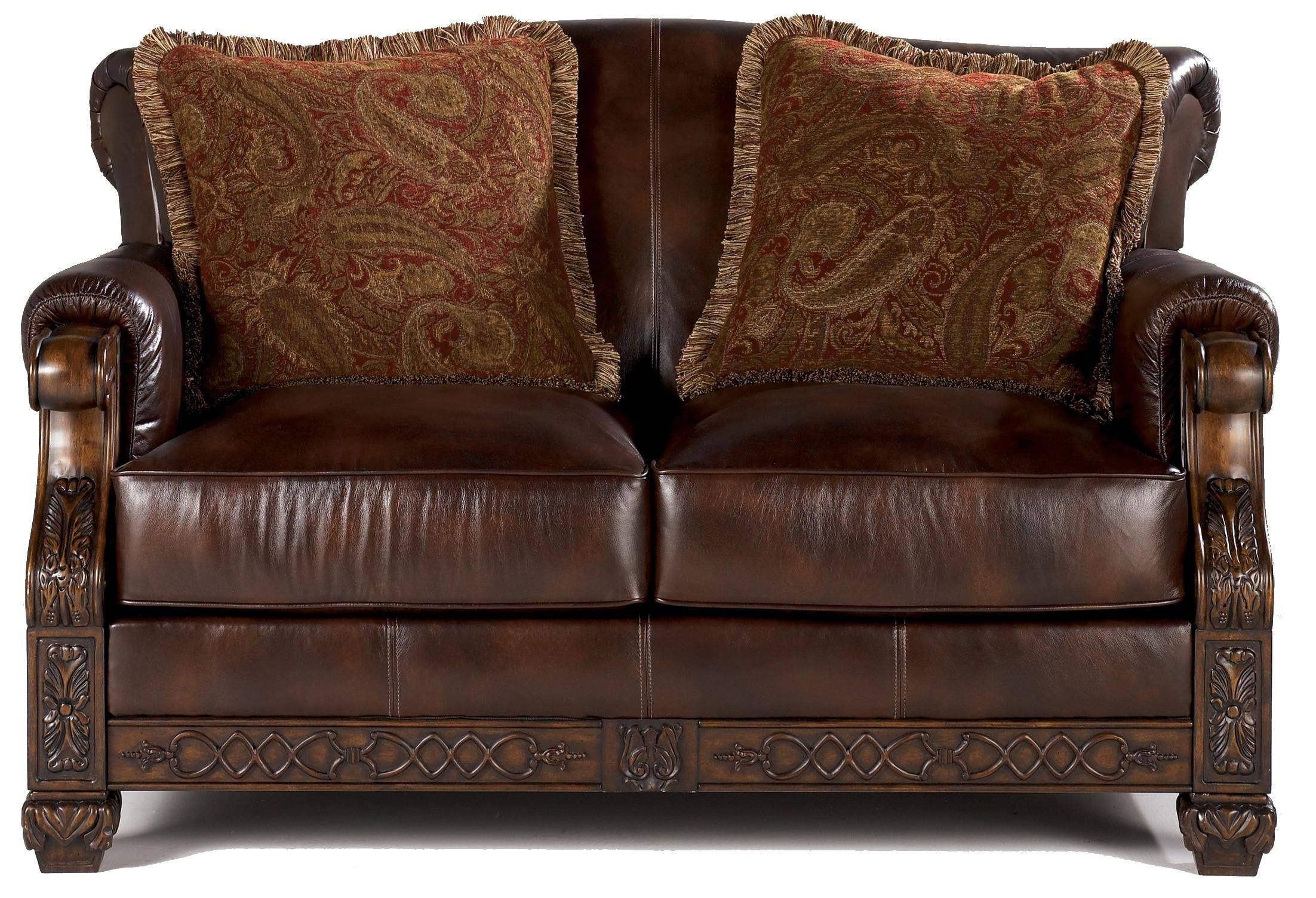 Oakmere Traditional Showood Accented Leather Love Seat By