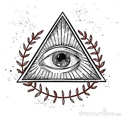 Hand drawn vector illustration - All seeing eye pyramid