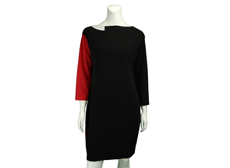52290daae Vestido Gloria Coelho Preto original é confeccionado na cor preta com  detalhe na lateral vermelha e a gola branca. Possui modelagem solta, manga  7/8 e não ...