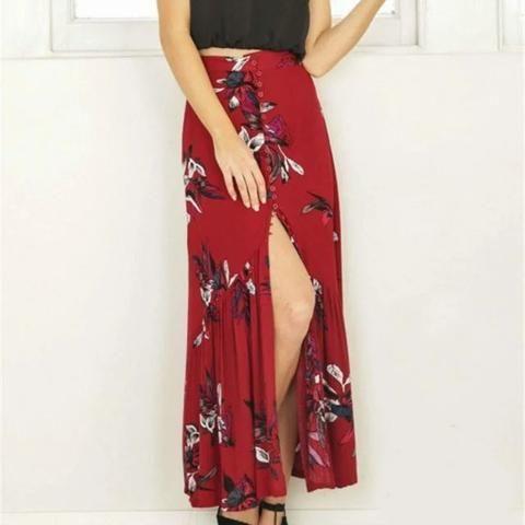 7ccd4c0e34 New summer women vintage elegant floral print long skirts beach party high  waist asymmetrical split maxi skirt