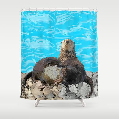 Where The River Meets Sea Otters Shower Curtain By DistortionArt