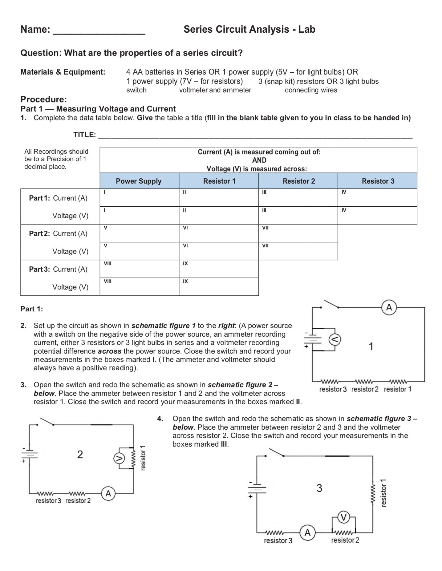 Ohm S Law Worksheet
