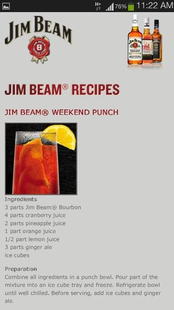Jim Beam Weekend Punch Peach Drinks Alcohol Drink Recipes Bourbon Recipes