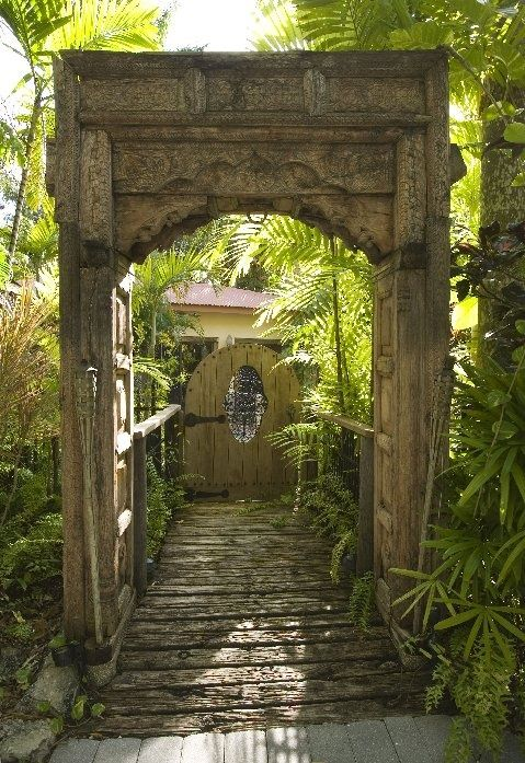 Antique Indian Door way and gate leading to the garden...so wonderful to - Antique Indian Door Way And Gate Leading To The Garden...so