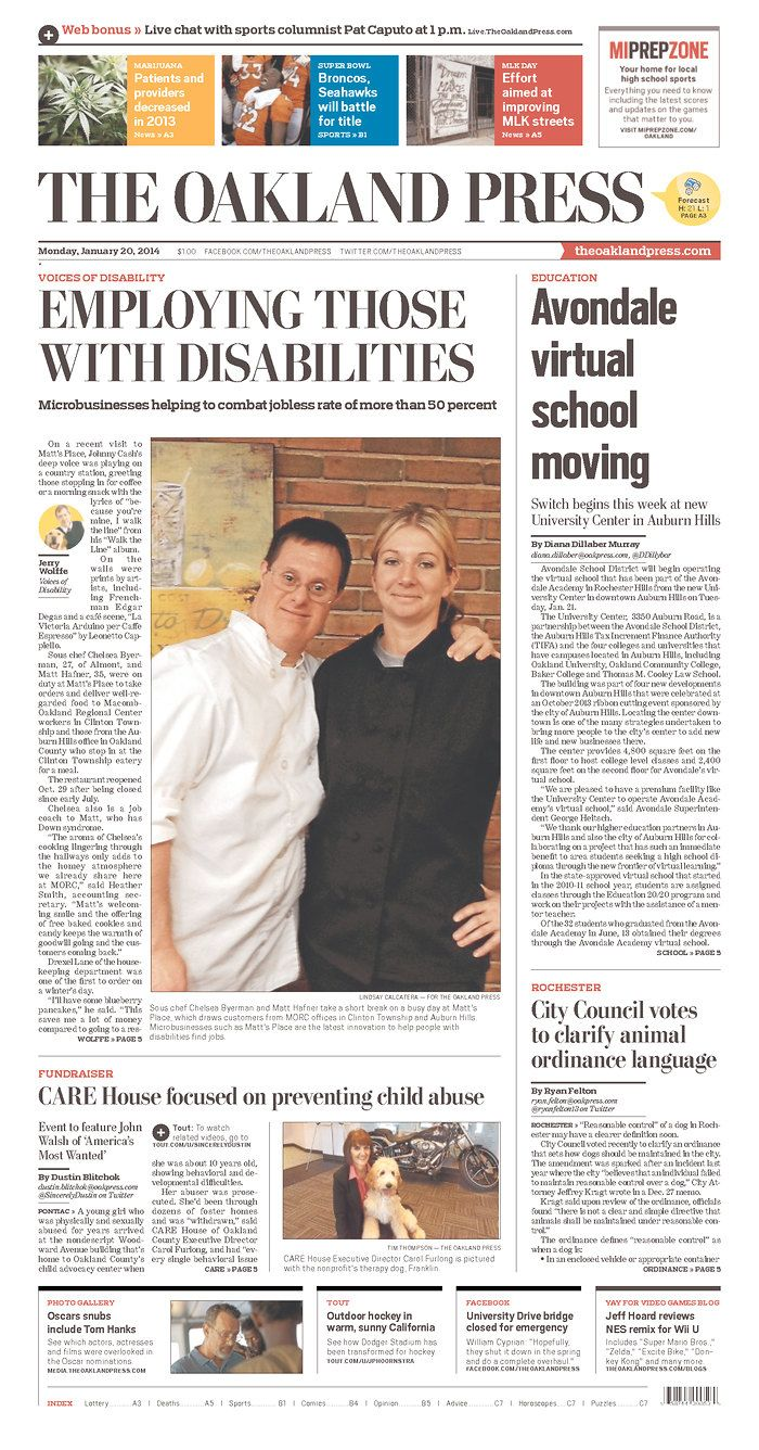Monday's interactive front page of The Oakland Press  | David's likes