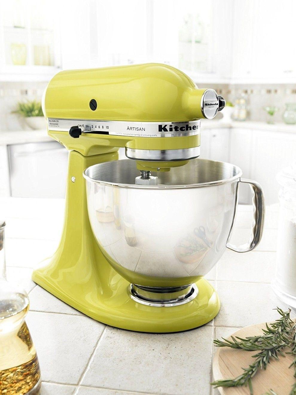 pale yellow kitchenaid stand mixer