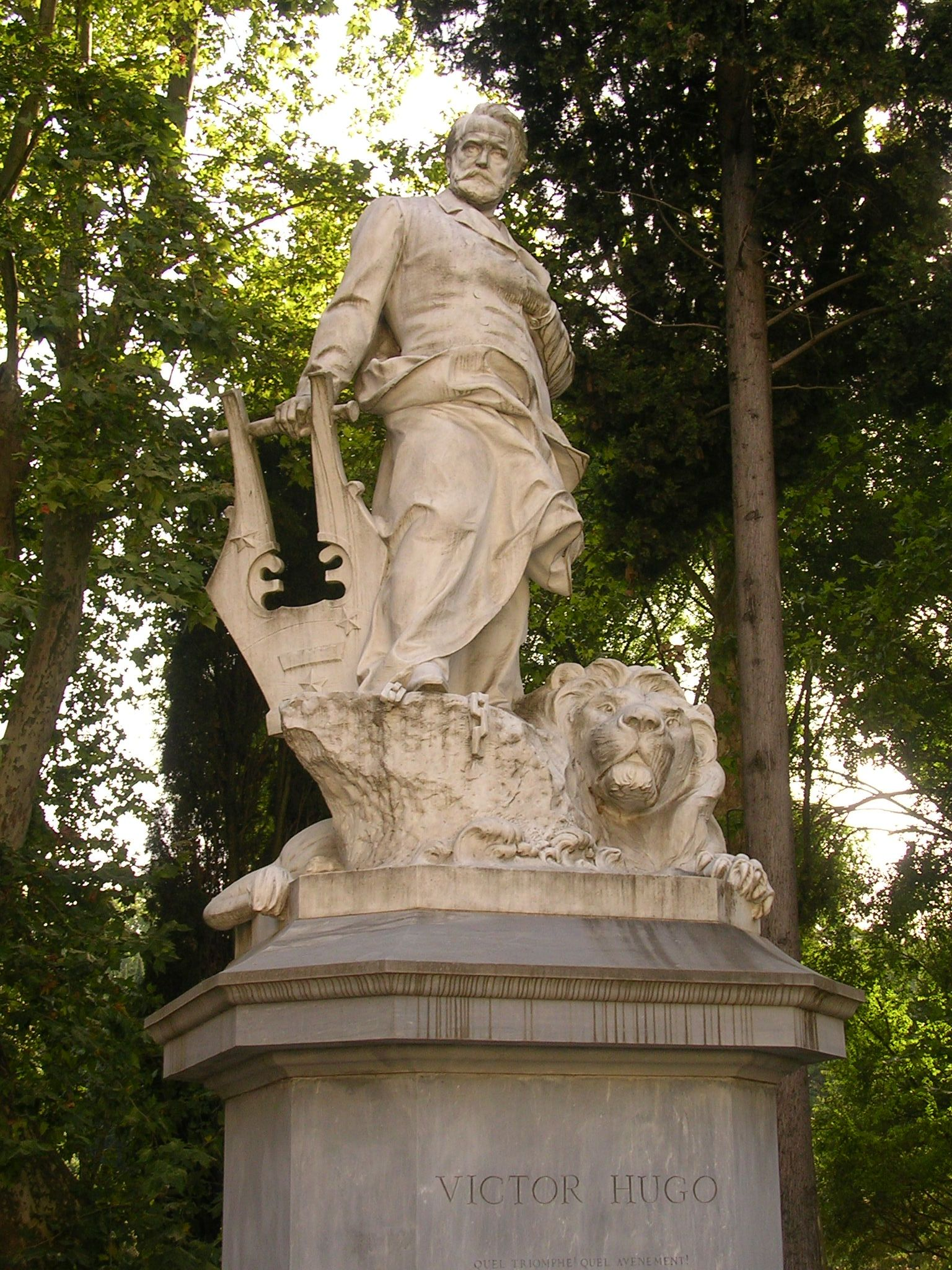 ROME, ITALY l Victor Hugo is among the many authors captured in stone a the Villa Borghese Park - Rome