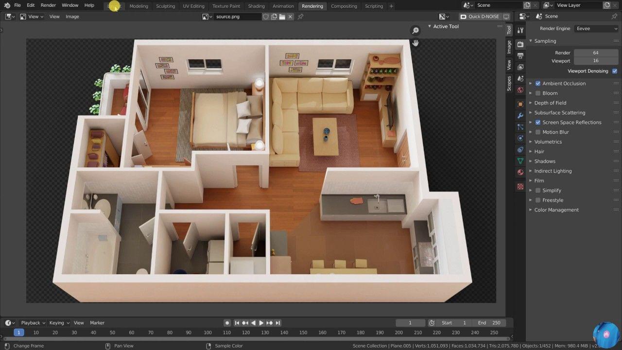 How to make 32d floor plan in Blender   Best method Modeling ...
