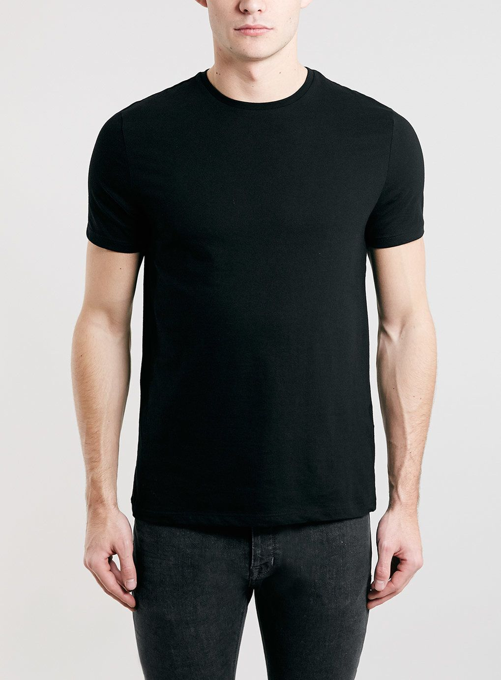 Black t shirt man - Black Slim Crew T Shirt