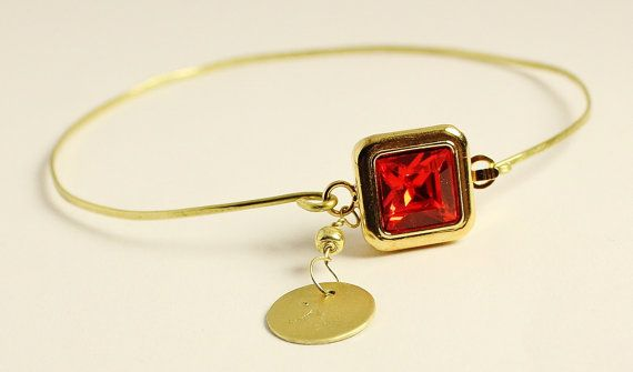 Red gold bangle with clasp, Siam red Swarovski crystal element in square gold setting, brass hand engraved initial bangle bracelet