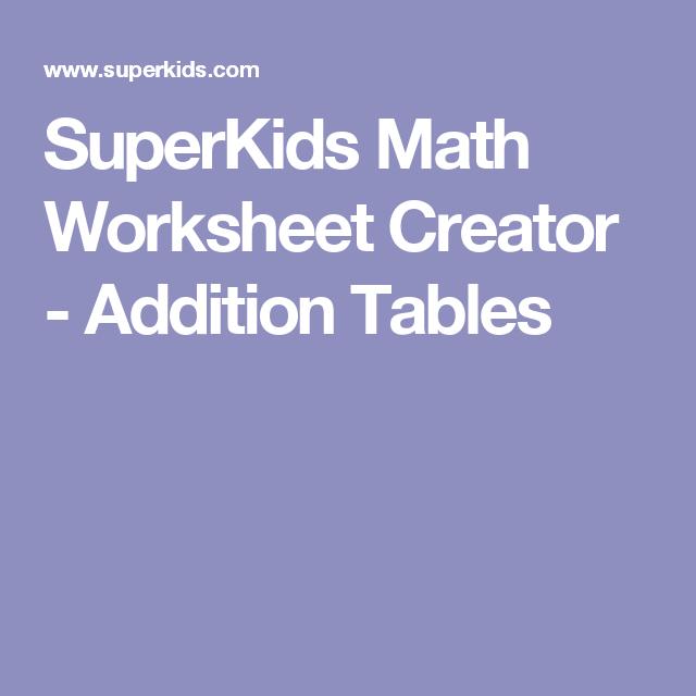 SuperKids Math Worksheet Creator Addition Tables – Superkids Math Worksheets Multiplication