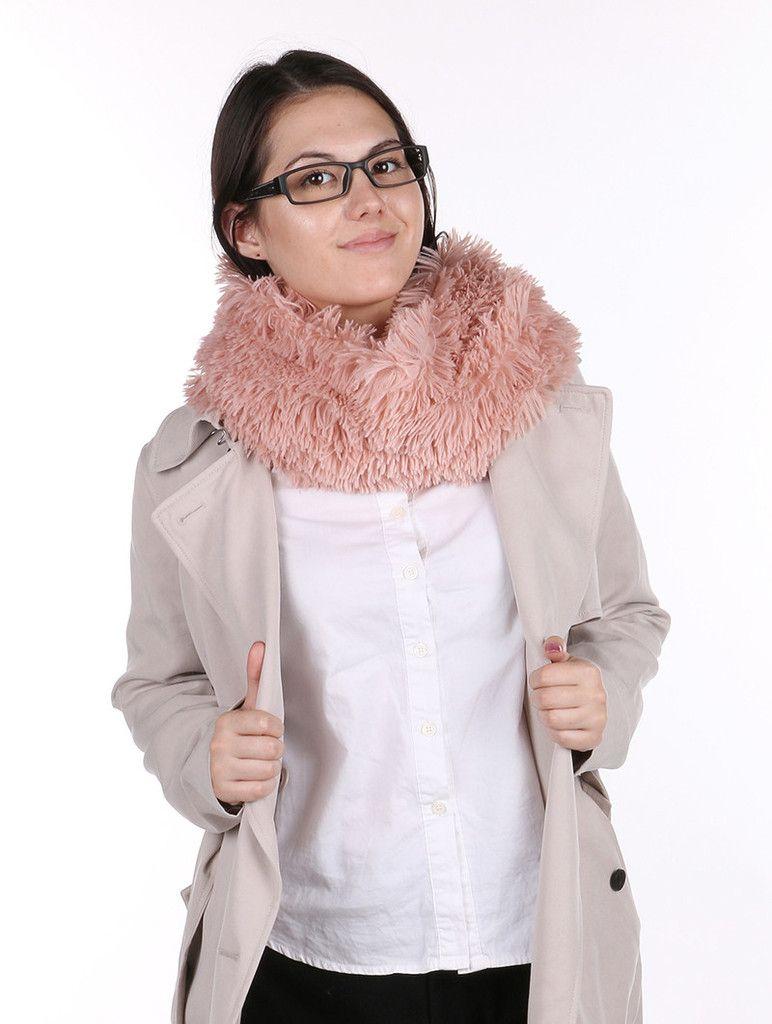 Scarf Fringed Soft Fur Infinity Neckwarmer 16 12 Inch Long X 12 Inch Wide 100% Acrylic One Size