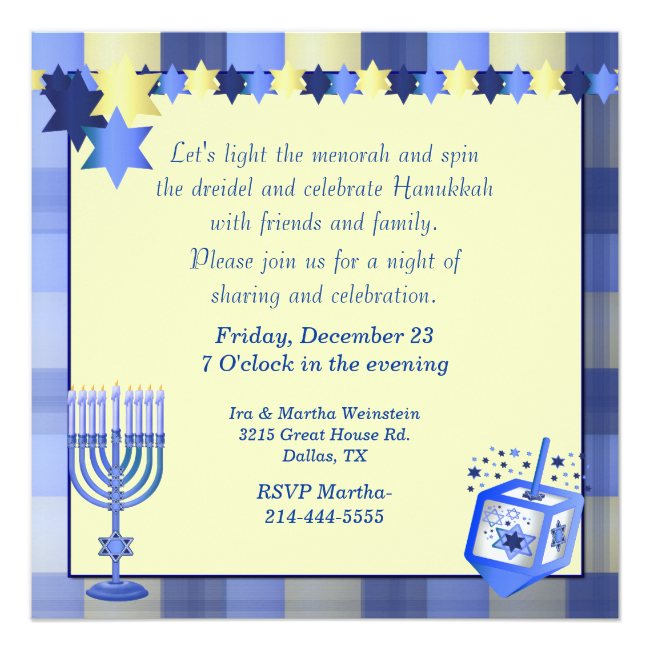 Pretty Hanukkah Party Invitation Pretty blue and golden yellow custom Hanukkah party invitation. Graphics of a blue and yellow plaid background has a yellow text field overlay that is decorated with lovely graphics of yellow and blue stars, at the top, and a menorah and dreidel...read more
