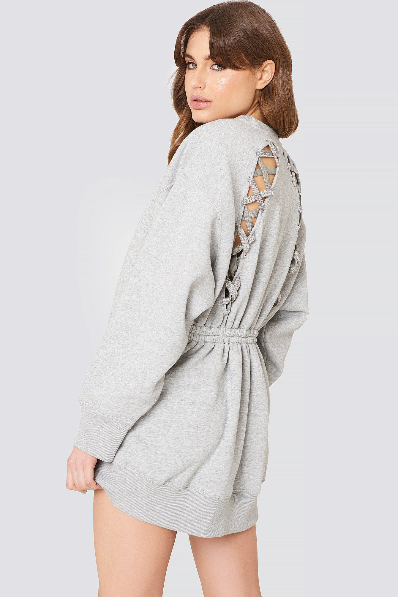 061e631d673 TOMMY HILFIGER GIGI HADID OPEN BACK LS SWEATSHIRT DRESS - GREY.   tommyhilfiger  cloth