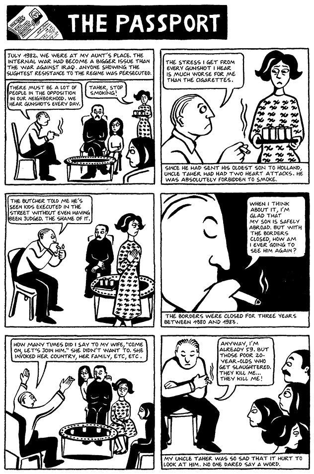 Chapter 16 The Passport From Marjane Satrapi S Persepolis 1 Graphic Novel Reading Comics