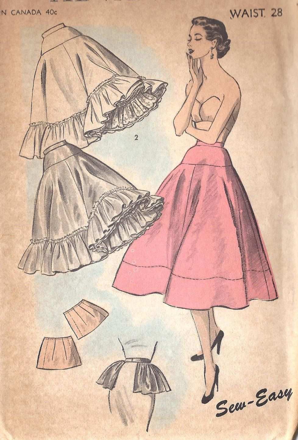 Vintage 1950\'s Misses\' Petticoat And Hip Ruffle Pattern, Advance ...