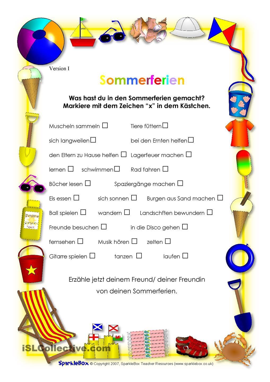 SOMMERFERIEN | Schule, Deutsch und Ferien