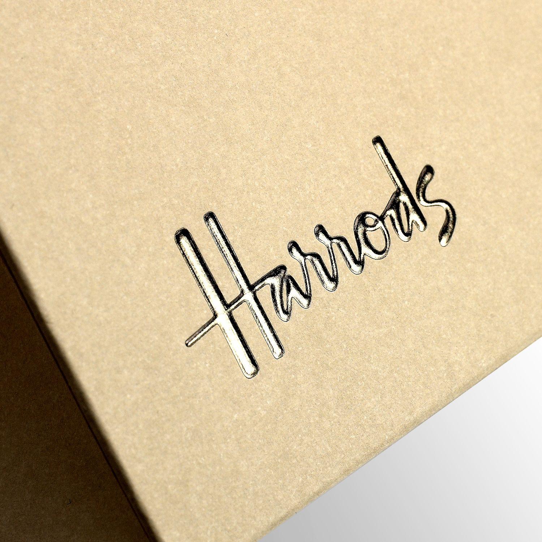 Progress Packaging Luxury Retail Carrier Foil Logo Hot Foil Stamping Harrods Foil Stamping