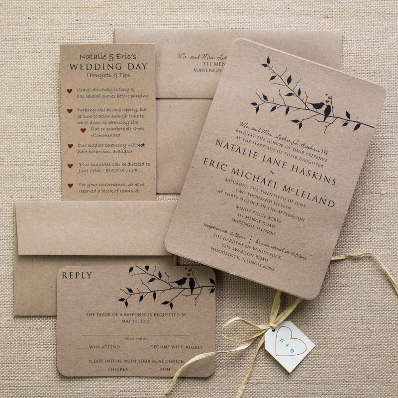 Kraft love bird wedding invitations Rustic love