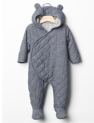 Quilted chambray bear one piece: http://www.stylemepretty.com/living/2016/08/04/these-itty-bitty-baby-outfits-are-the-cutest-thing-youll-see-all-week/
