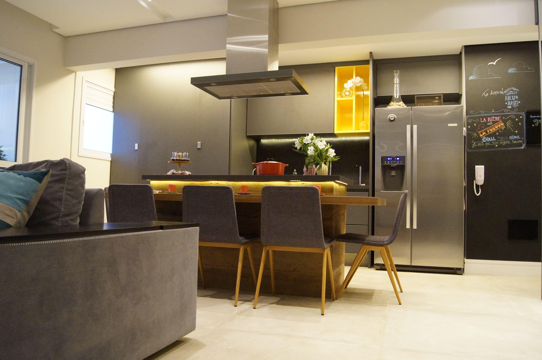 Cozinha Ao Fundo Com Quadro Negro E Ilha Gourmet Projetos Aninha