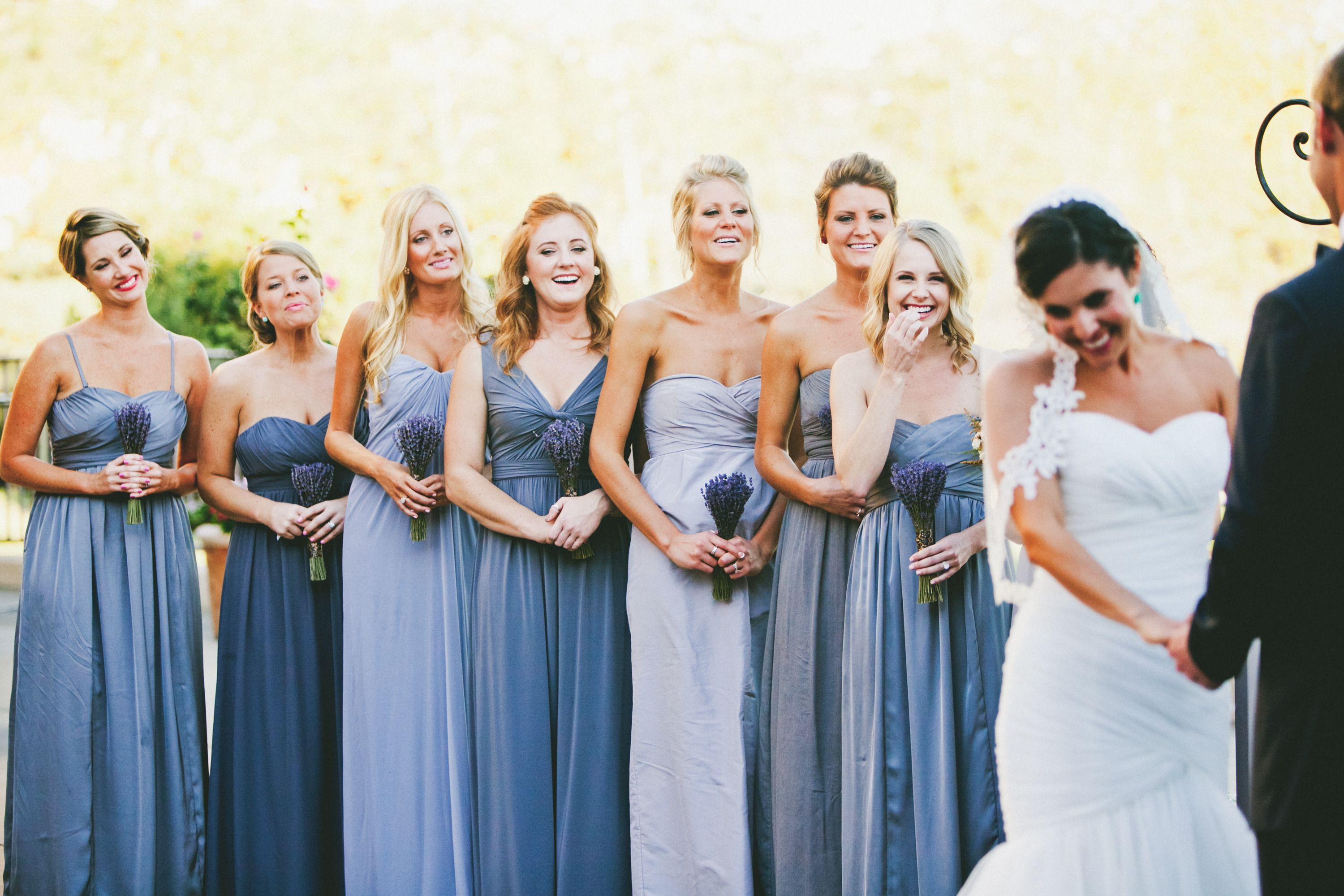 Colorful autumn wedding in orange county california wedding bridesmaids in blue and grey ombrellifo Choice Image