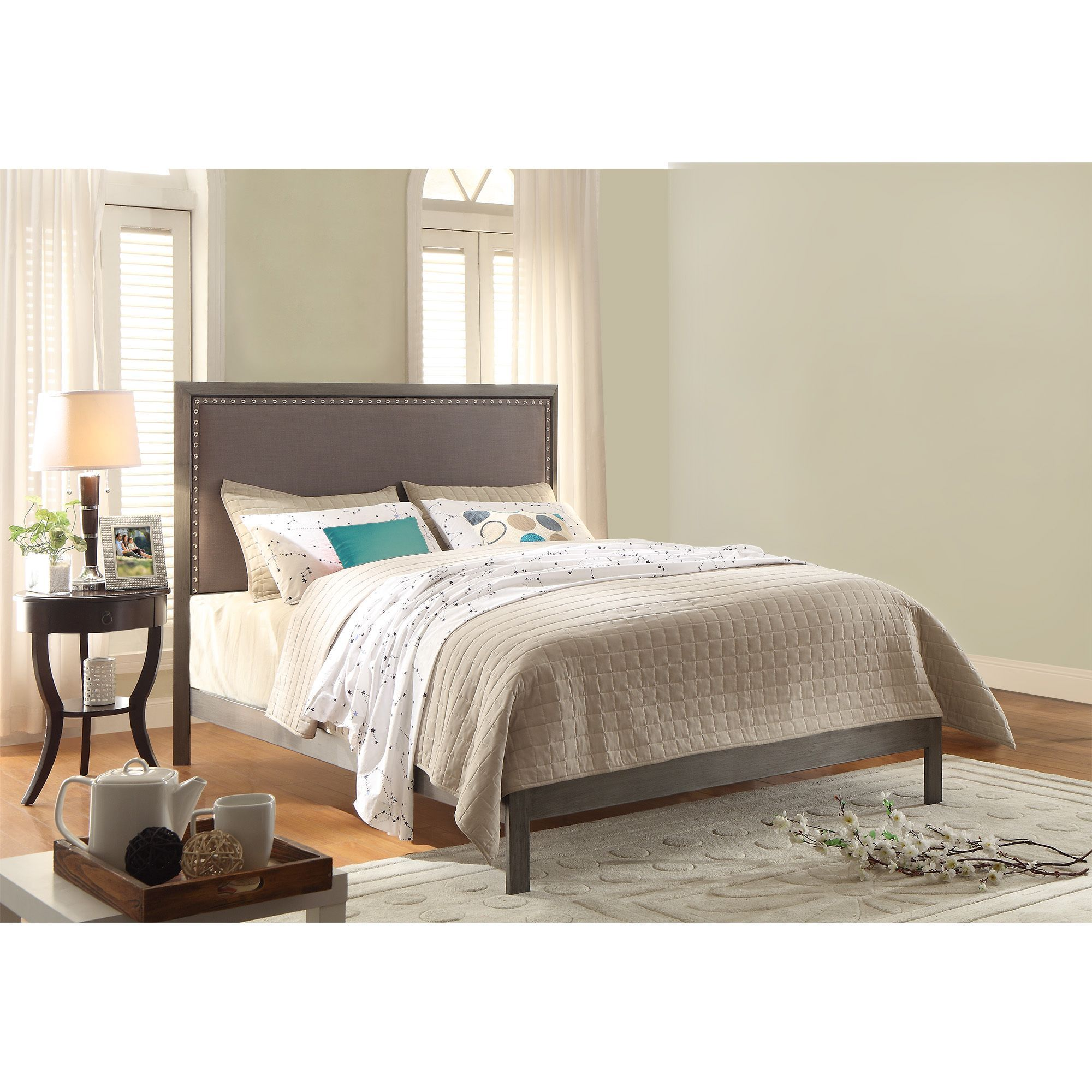 Normandy Platform Bed with Metal Frame and Steel Gray Upholstered ...