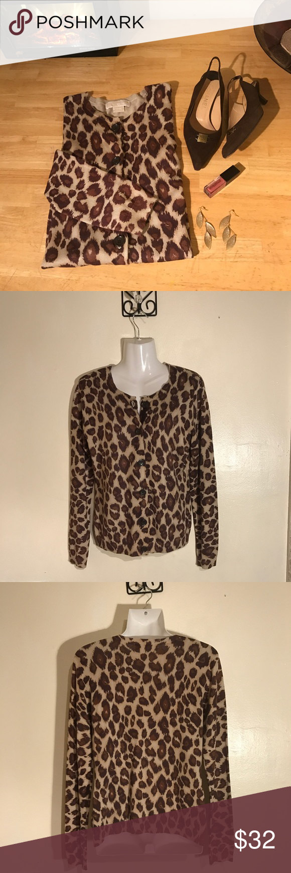 Leopard print MK cardigan Soft and sleek cardigan from 💥MICHAEL KORS💥.   Button down front and full sleeves. Medium size true to size. NEVER WORN. Excellent condition. Great look for the office ladies out there!! ☎️📠💻.   Reasonable offers considered. Michael Kors Sweaters Cardigans