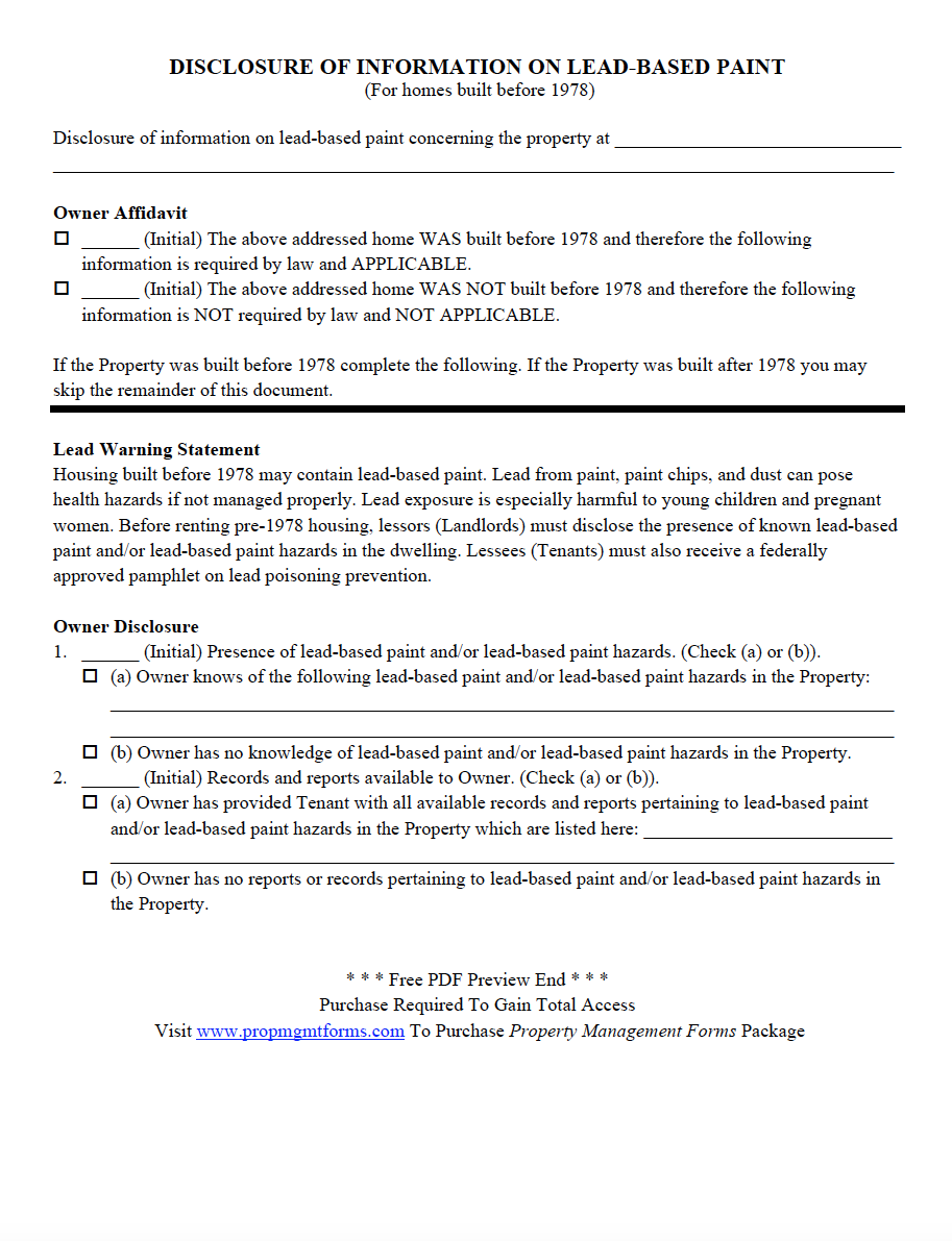 Disclosure Of Information On Lead Based Paint Pdf Property Management Contractor Contract Rental Property