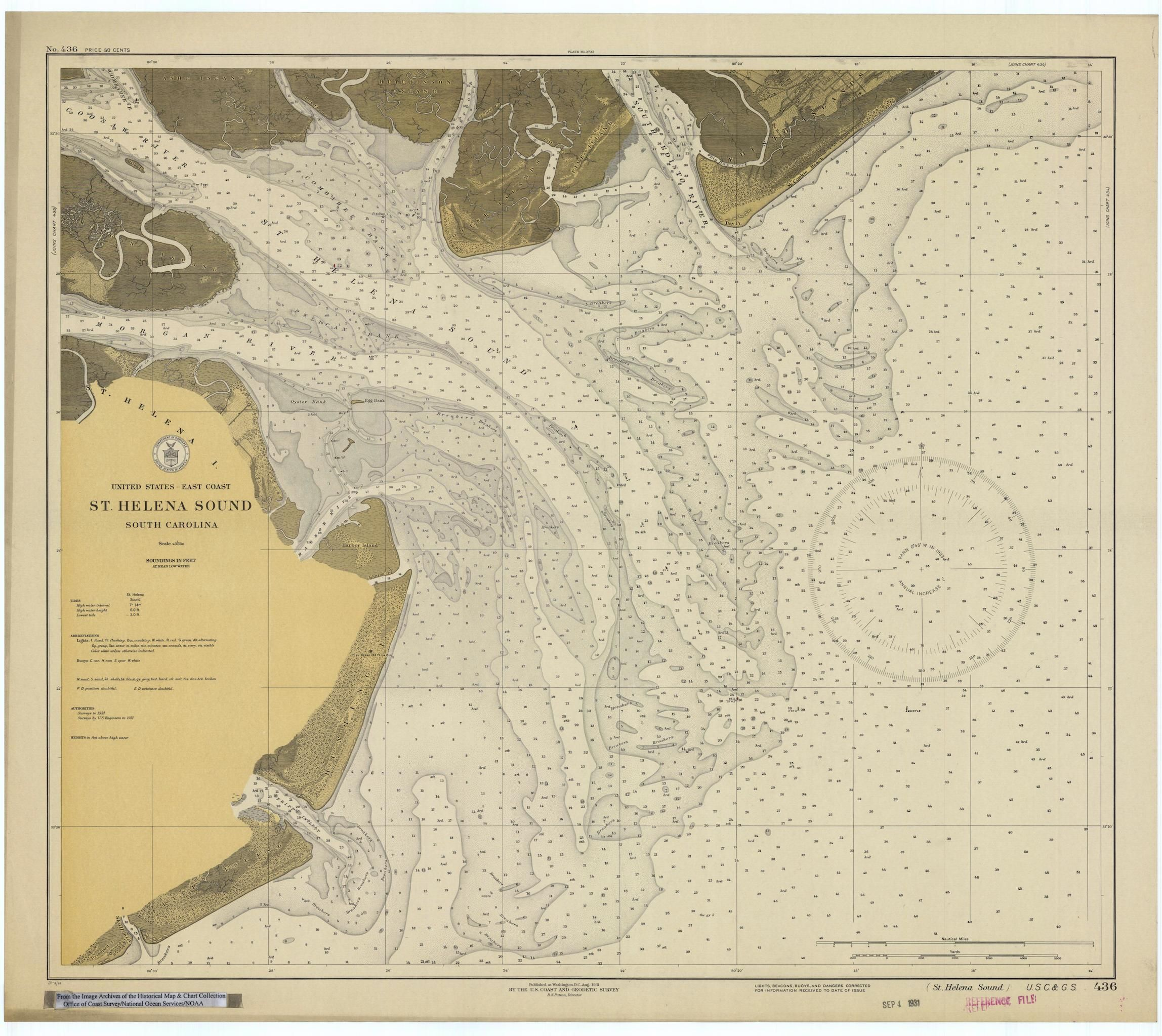 St helena sound map 1931 historical maps map sound map