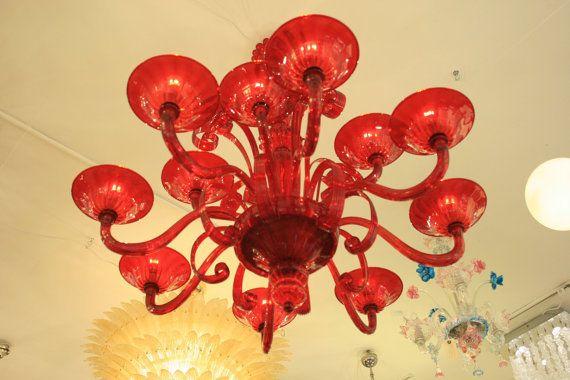 Ricambi Plafoniere Vetro : Lampadario plafoniera veneziana in vetro soffiato di murano e