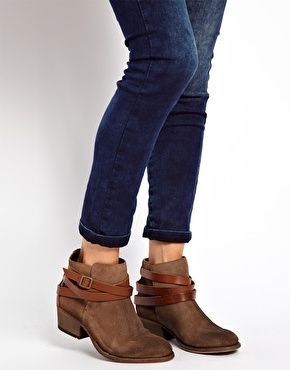 Image 3 of H by Hudson Horrigan Beige Strap Ankle Boots   ASOS ...