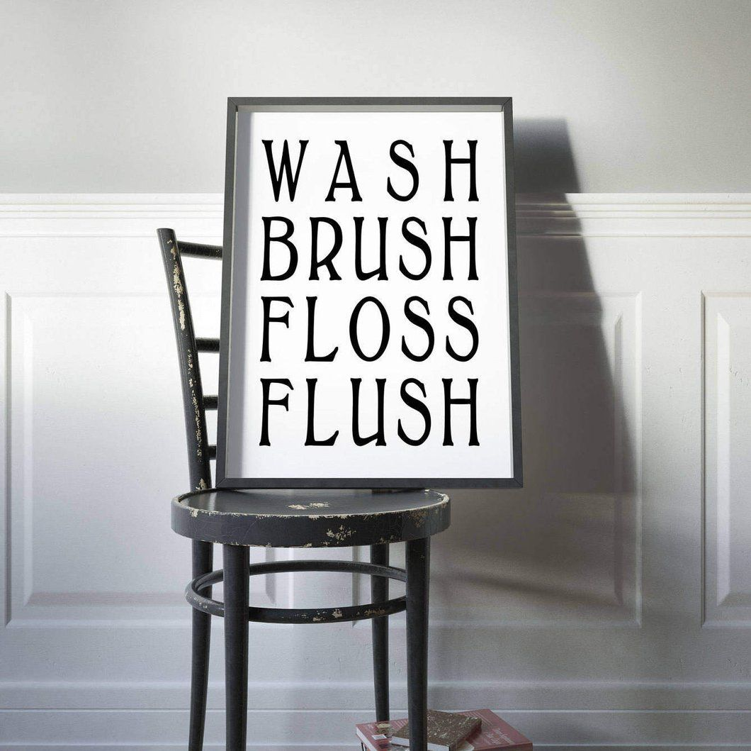 Bathroom Sign Rules Door Funny Art Rustic