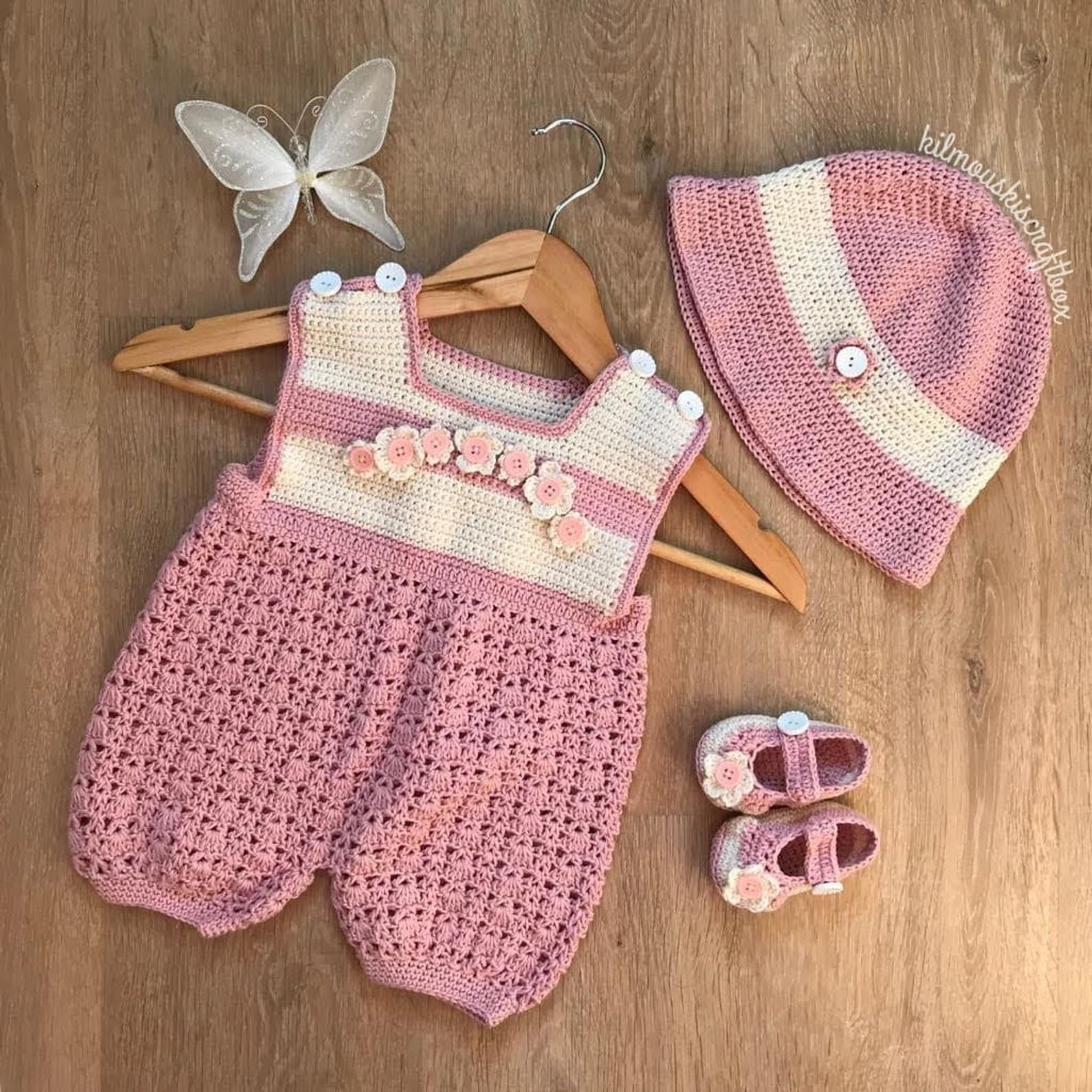 Photo of Baby Girl or Boy Romper Outfit Crochet Pattern