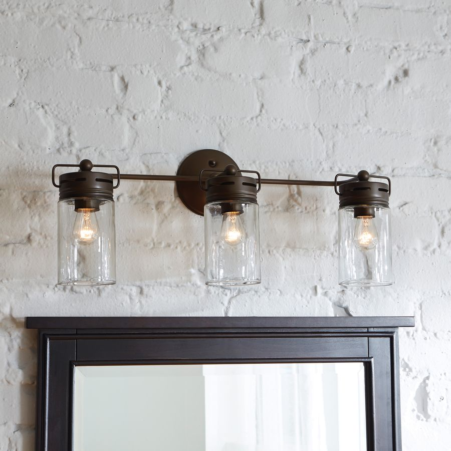 Beach House Design Ideas  The Powder Room     Home   Pinterest     Mason jar inspired bathroom vanity lights with 3 bulbs