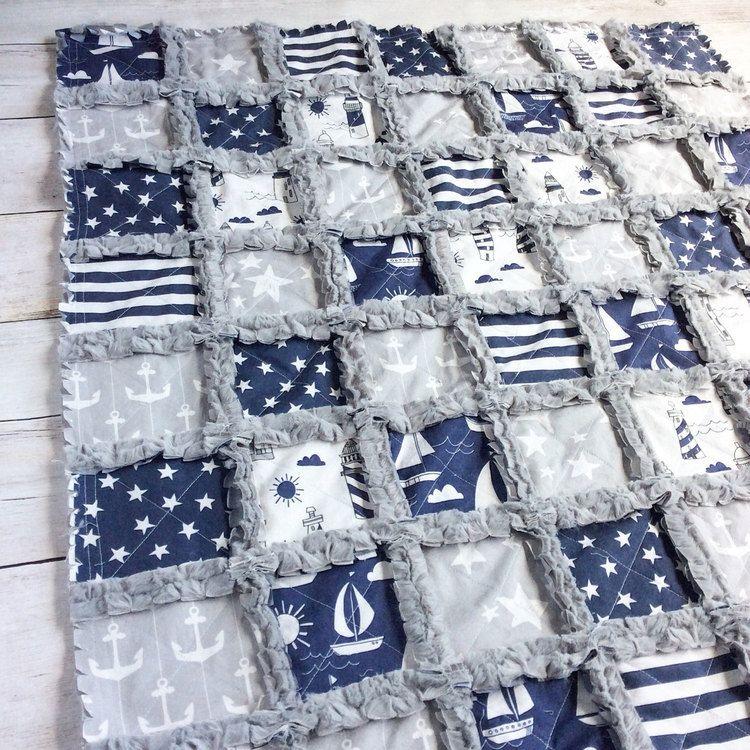 Nautical Crib Quilt - Nautical Nursery Bedding - Nautical Blanket - Baby Boy Quilt - Anchor Baby Blanket - Nautical Baby Gift - Star Blanket2
