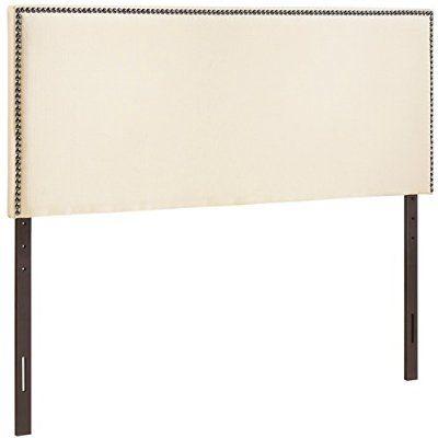 LexMod Region Nailhead Upholstered Headboard, Queen, Ivory