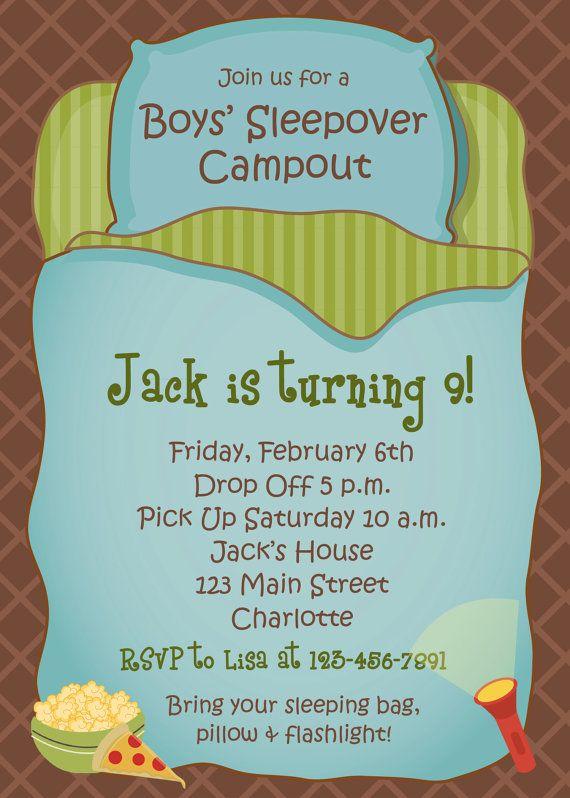 Boys Sleepover Birthday Party Invitation by TheButterflyPress - fresh birthday invitation of my son