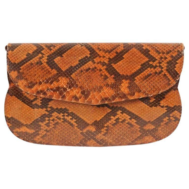 Charles Jourdan Copper Snakeskin Clutch Or Shoulder Bag Snakeskin Clutch Charles Jourdan Bags