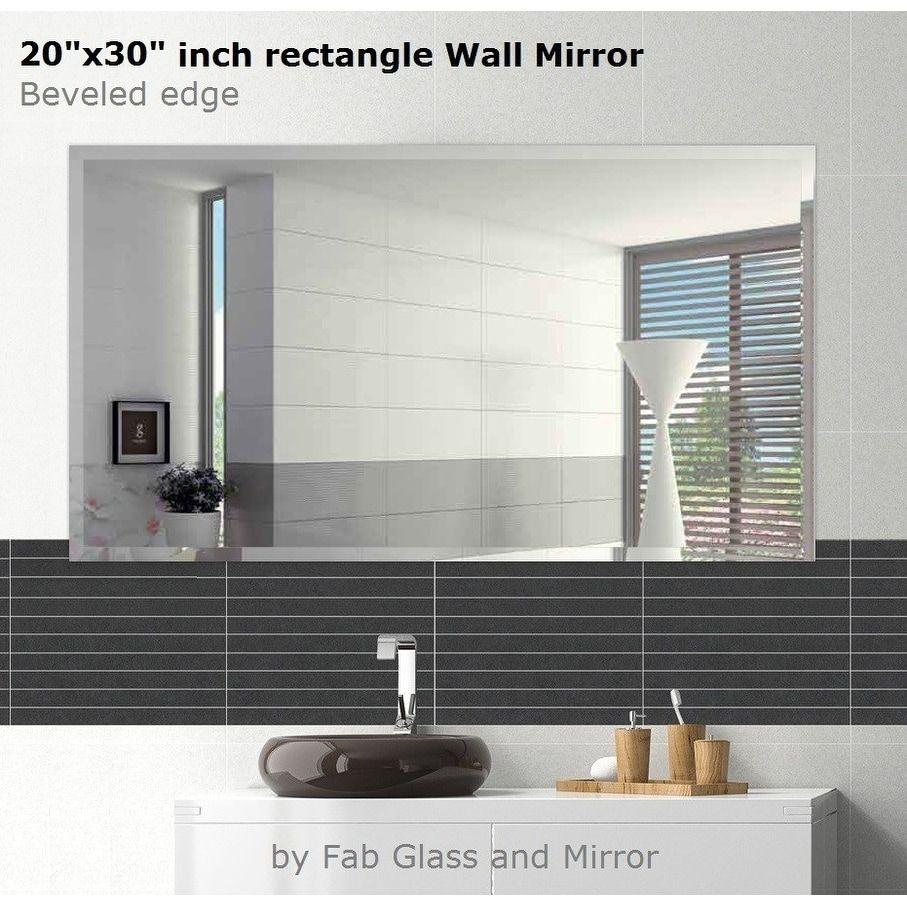 Rectangle Beveled Polish Frameless Wall Mirror With Hooks 30 X 20 Inch Clear