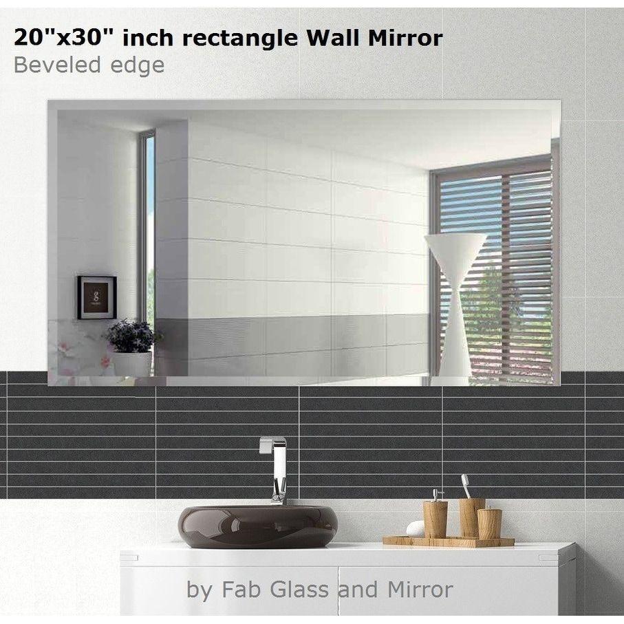 frameless bathroom vanity mirror single mirror rectangle beveled polish frameless wall mirror with hooks 30 20 inch clear