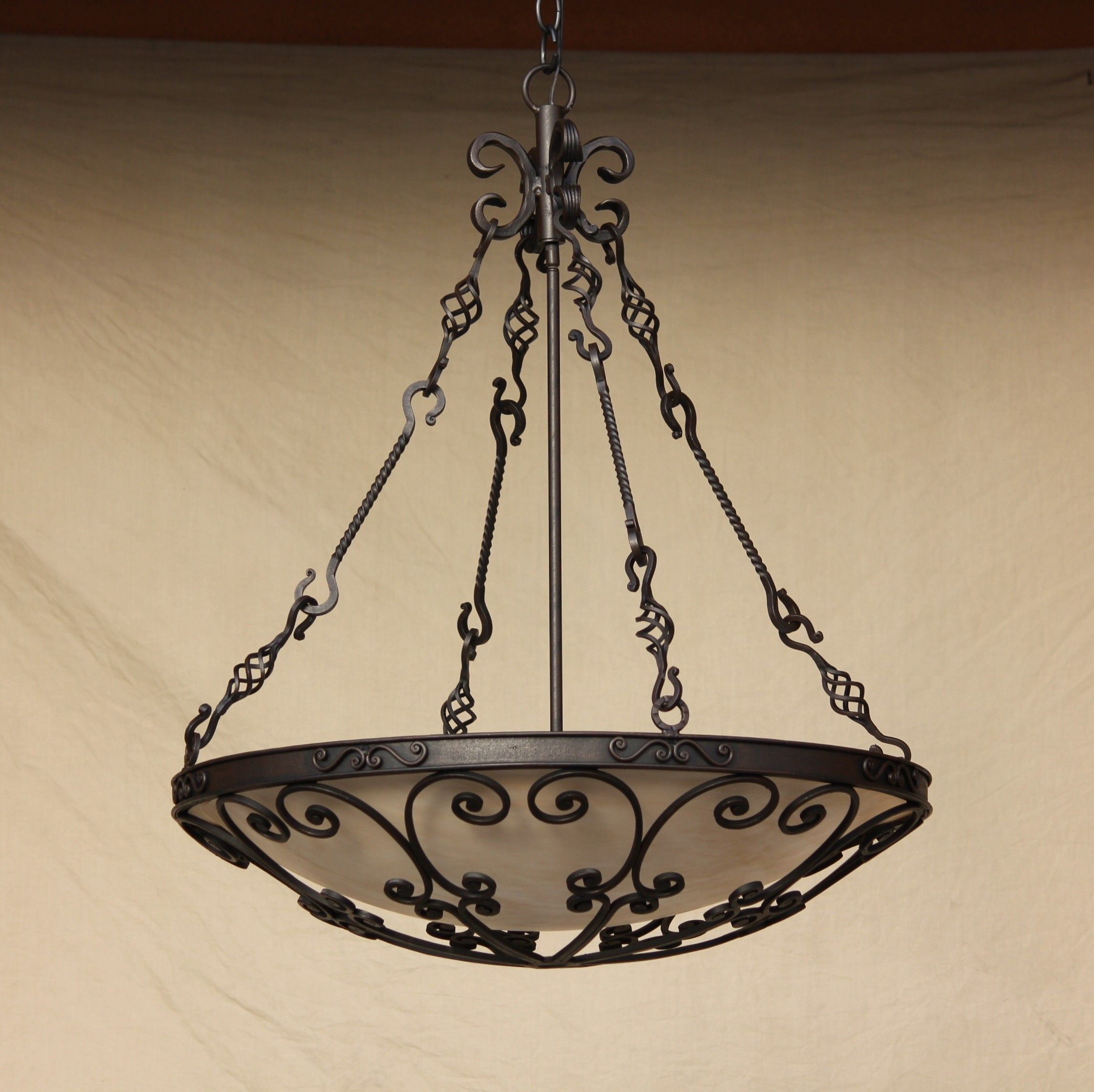 Pendant Lighting Hanging Hand Forged Wrought Iron Tuscan