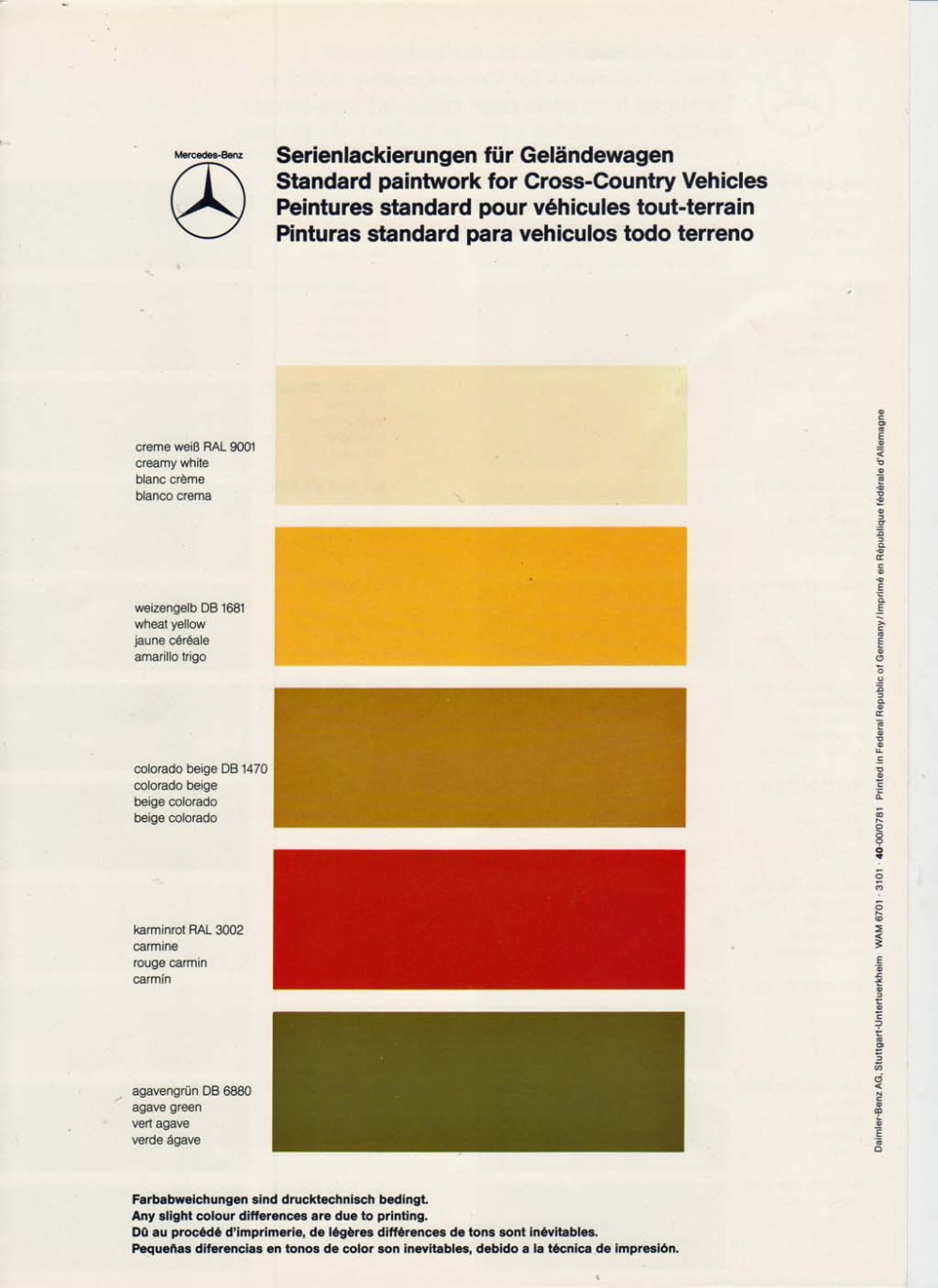 All The Colours Of The Dark Federale W463 De W460 Ii 1979 300gd Om617a In 2020 W463 Mercedes Benz Nebelschlussleuchte