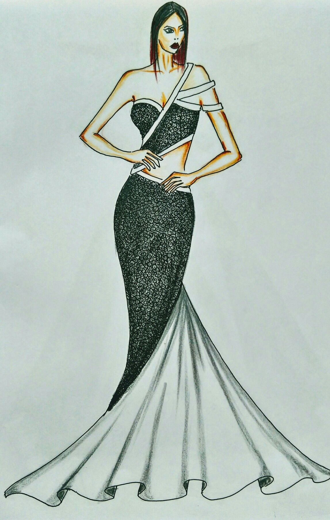 Black White Fit Flare Strappy Gown Fashion Design Sketches Fashion Illustration Dresses Dress Design Sketches